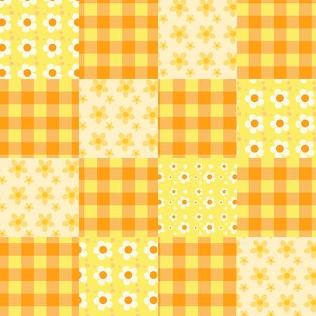 Seamless patchwork orange pattern.  Vector