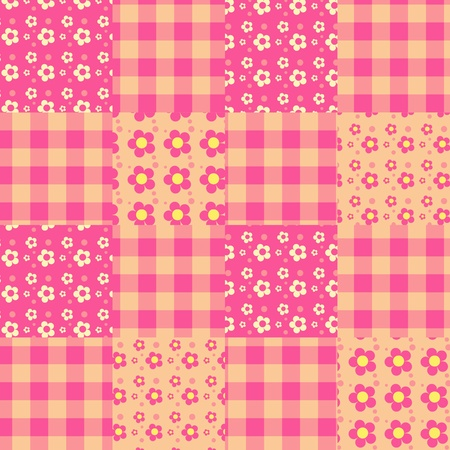 Seamless patchwork pink pattern.  Vector