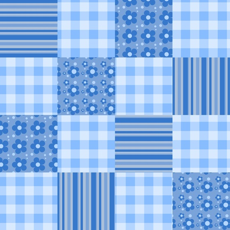 Seamless patchwork blue pattern.  background. Vector