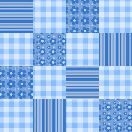 homespun: Seamless patchwork blue pattern.  background.