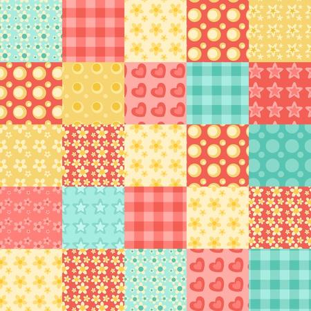 シームレスなパッチワーク パターン。ビンテージ ベクトルの背景。