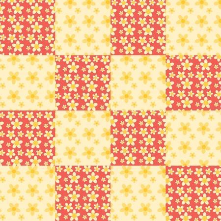 homespun: Flores mosaico sin fisuras patr�n. Rojo y amarillo. Vector de fondo.