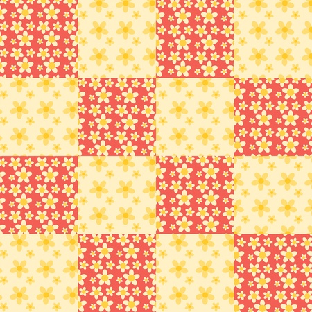 Seamless patchwork flowers pattern. Red and yellow. Vector background. Vector