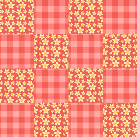 homespun: Seamless patchwork red pattern. Vector background. Stock Photo