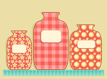 canning: Three application jars. Patchwork series. illustration.