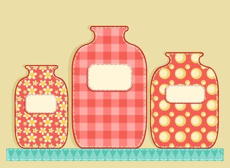 homespun: Tres frascos de aplicaci�n. Patchwork serie. ilustraci�n. Vectores