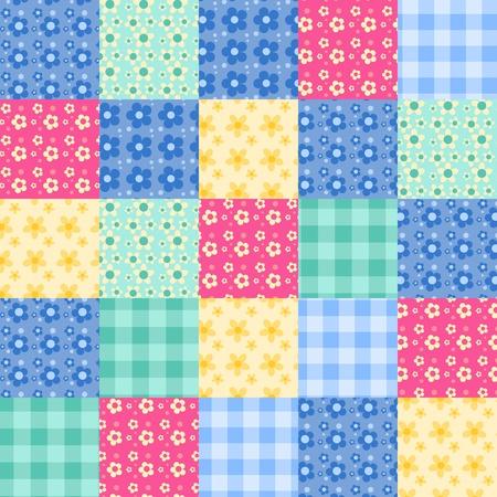 Naadloze patchwork helder patroon. Vector achtergrond.