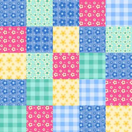 quilt: Seamless patchwork bright pattern. Vector background.