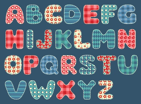 patchwork: Quilt alphabet  Set patchwork letters  Vector illustration  Illustration