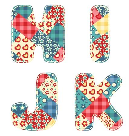 Quilt alphabet  Letters H, I, J, K  Vector illustration  Ilustração