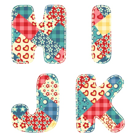 Quilt alphabet  Letters H, I, J, K  Vector illustration  Vector
