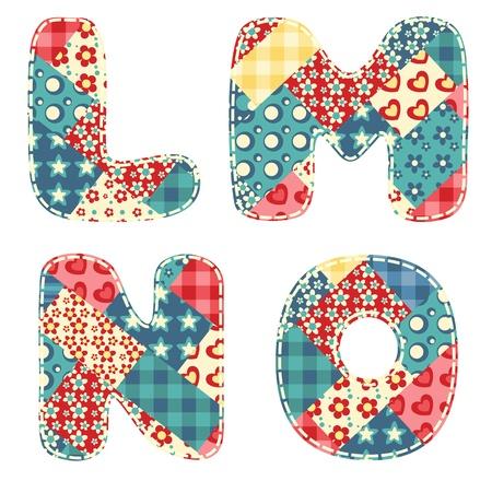 Quilt alphabet  Letters L, M, N, O  Vector illustration  Vector