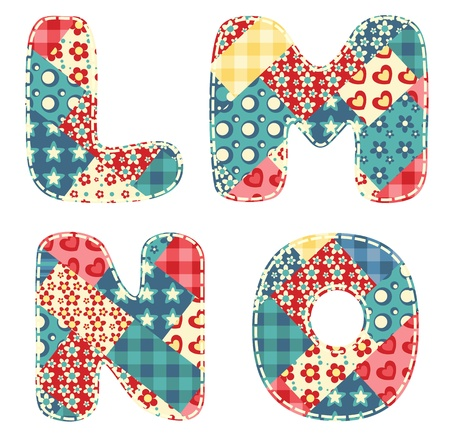 l: Quilt alphabet  Letters L, M, N, O  Vector illustration  Illustration