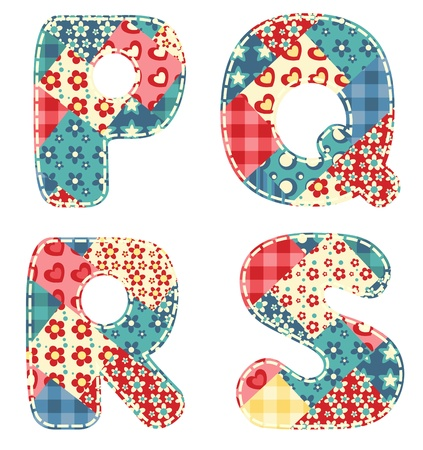 scrapbooking: Quilt alphabet  Letters P, Q, R, S  Vector illustration