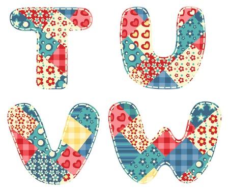 Quilt alphabet  Letters T, U, V, W  Vector illustration  Vector