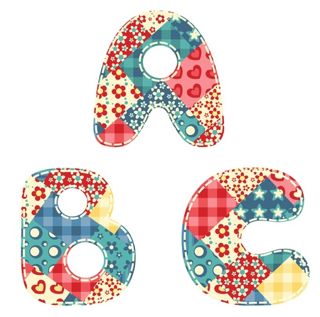 Quilt alphabet  Letters A, B, C  Vector illustration  Ilustração