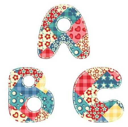 Quilt alphabet Letters A, B, C Vector illustration