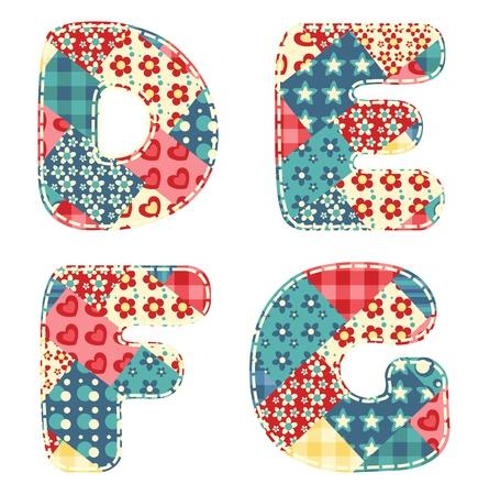 Quilt alphabet  Letters D, E, F, G  Vector illustration