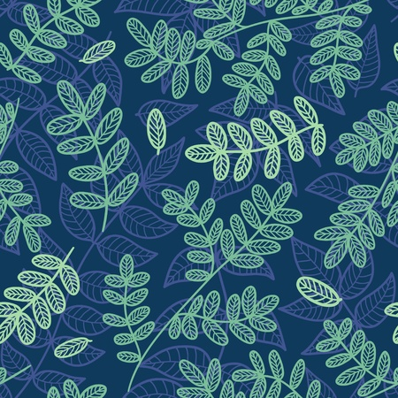 Blue and green leaves seamless pattern