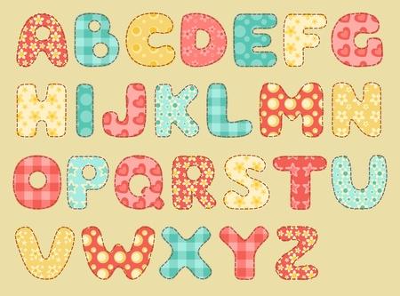 Vintage quilt alfabet set patchwork letters Stock Illustratie