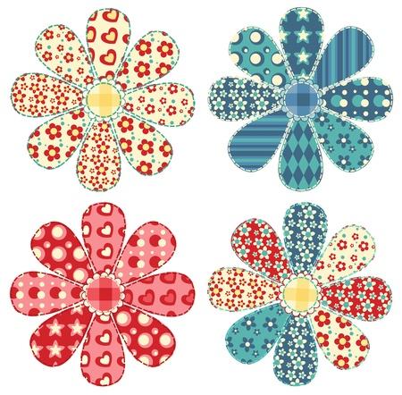 Set of four quilt flower  Patchwork series illustration   イラスト・ベクター素材
