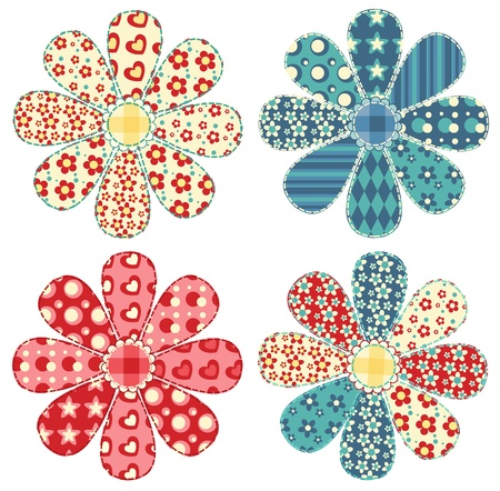 Set of four quilt flower  Patchwork series illustration  Иллюстрация
