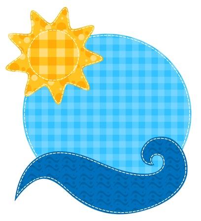 Patchwork Sonne und Wellen-Zeichnung auf weißem Sammelalbum Serie Isoliert
