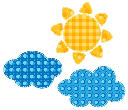 patchwork: Patchwork sun and two clouds  Isolated on white illustration  Scrapbook series