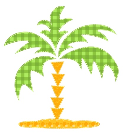 Patchwork palm tree  Isolated on white quilt illustration  Scrapbook series  Vector
