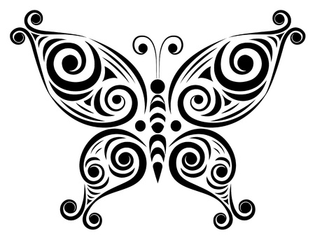 Ornamental butterfly  Isolated on the white  Vector illustration