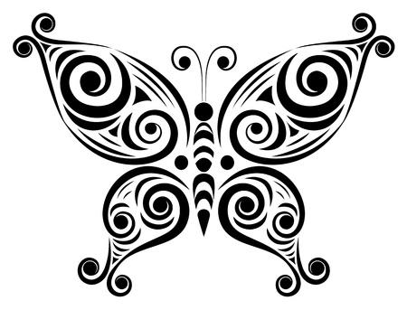 Ornamentales de la mariposa aislado en la ilustración vectorial blanco