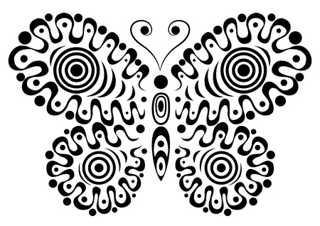 Ornamental butterfly  Isolated on the white   Stock Vector - 13716289
