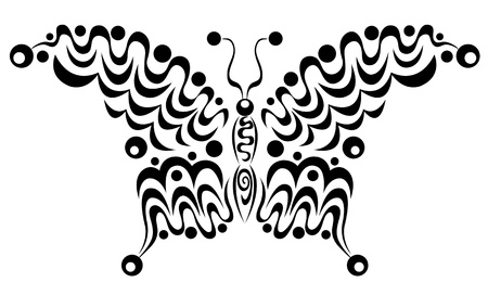 Ornamental butterfly  Isolated on the white  Vector illustration  Vector