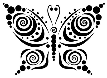 stylize: Ornamental butterfly  Isolated on the white  Illustration