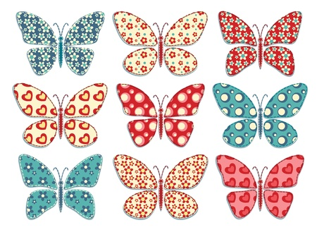 patchwork quilt: Set of patchwork butterflys Vector illustration  Illustration
