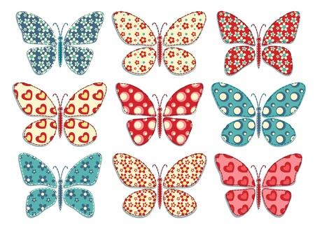 patchwork pattern: Set of patchwork butterflys Vector illustration  Illustration