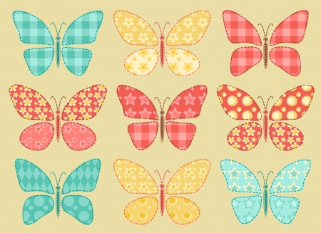 Set of patchwork butterflys  Vector