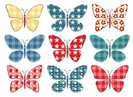Set of nine patchwork butterflys  Vector