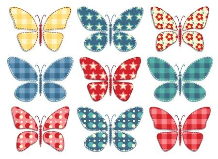 patchwork pattern: Set of nine patchwork butterflys