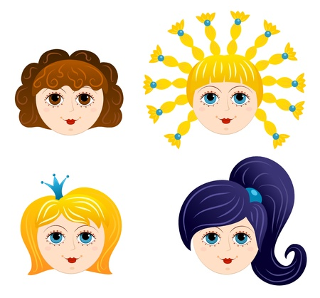 caricature woman: Set of girls faces 1  Cartoon  Illustration