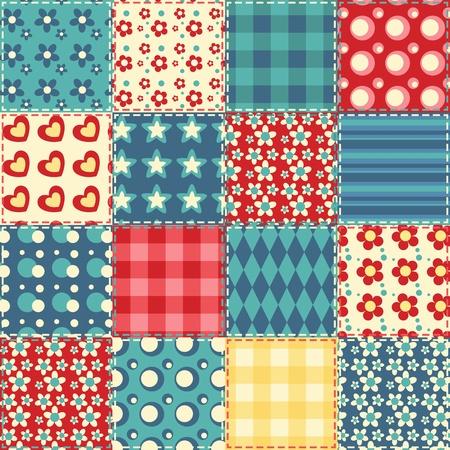 applique flower: Quilt seamless pattern  patchwork background