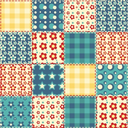 Quilt naadloze patroon patchwork achtergrond Stock Illustratie