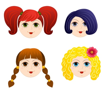 Set of girls faces 2. Cartoon illustration. Vector