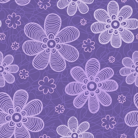 Violet flowers pattern  Beautiful background  Vector