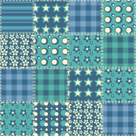 Quilt seamless pattern  patchwork background  Vector