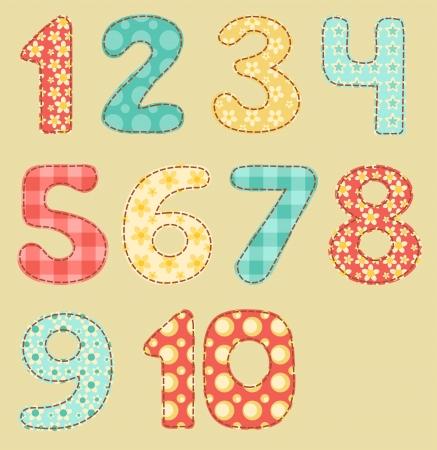 Vintage numbers patchwork set  Ilustração