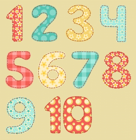 Vintage numbers patchwork set  Vector