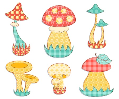 patchwork quilt: Isolated mushroom patchwork set  Illustration