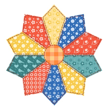 quilt: Patchwork abstract flower 3