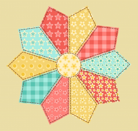 Patchwork abstract flower 2  Vector